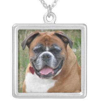 Boxer dog necklace, gift idea square pendant necklace