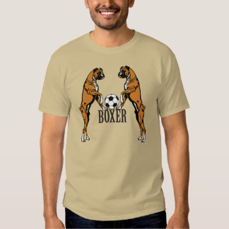 boxer dog with soccer ball t shirts