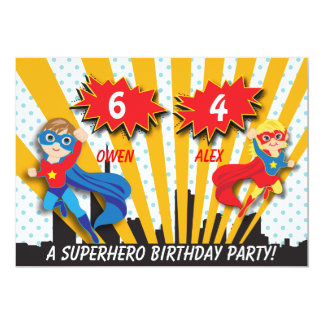 Boy and Girl Superhero Birthday 13 Cm X 18 Cm Invitation Card
