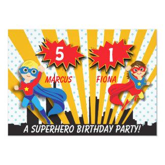 Boy and Girl Superhero Birthday 13 Cm X 18 Cm Invitation Card