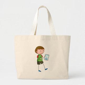 Boy and tablet jumbo tote bag