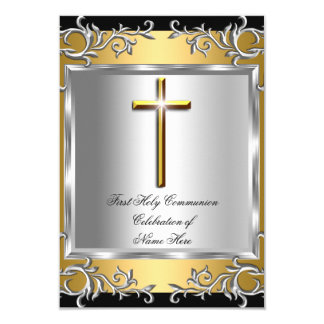 Boy Girl First Holy Communion Silver Gold SML 9 Cm X 13 Cm Invitation Card
