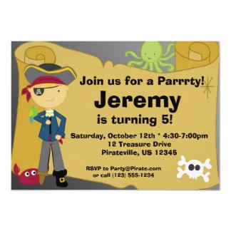 Boy Pirate Treasure Map Birthday Party Invitation