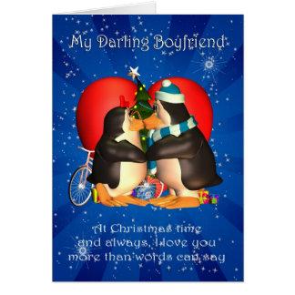 Boyfriend Christmas Card With Kissing Penguins Hea