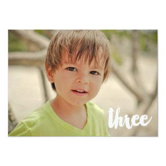 Boys 3rd Birthday Number Three Photo Overlay 13 Cm X 18 Cm Invitation Card