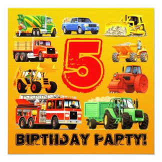 Boy's 5th Birthday Construction Truck Party 13 Cm X 13 Cm Square Invitation Card