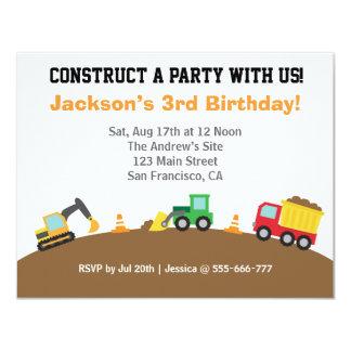 Boys Construction Vehicles Theme Birthday Party 11 Cm X 14 Cm Invitation Card
