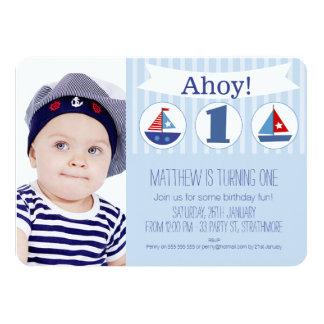 Boys Photo 1st Birthday Invitation Nautical
