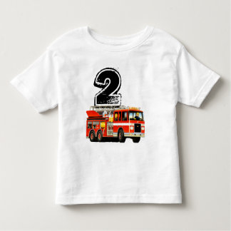 Boys Red Fire Truck 2nd Birthday Tees