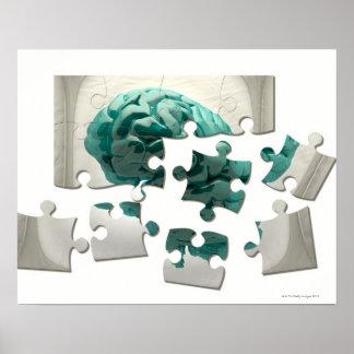 Brain analysis, conceptual computer artwork. poster