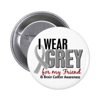 BRAIN CANCER I Wear Grey For My Friend 10 6 Cm Round Badge