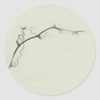 Bramble Tendrils in the Fog - Minimalism Round Sticker