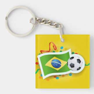 Brazil, soccer design Single-Sided square acrylic key ring