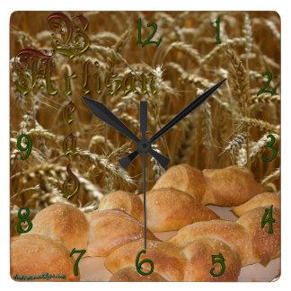 Bread Artisan Square Wall Clock