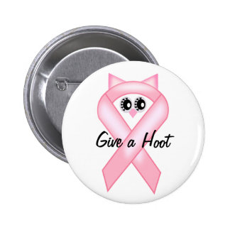 Breast Cancer Awareness - Pink Owl Ribbon 6 Cm Round Badge