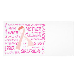 BREAST CANCER AWARENESS PINK RIBBON DESIGN CUSTOMISED PHOTO CARD
