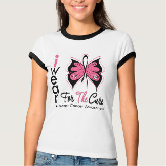 Breast Cancer Butterfly Ribbon For The Cure Tee Shirts