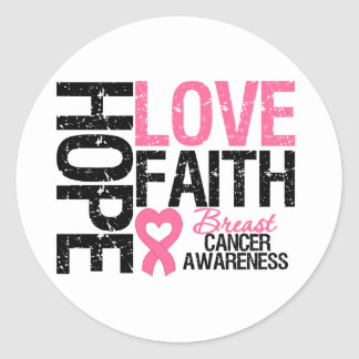 Breast Cancer Hope Love Faith Round Sticker
