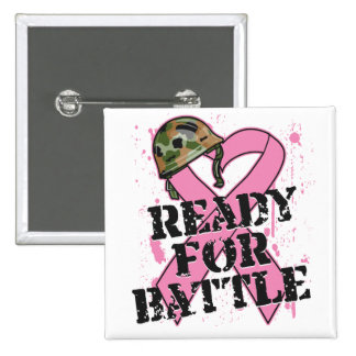 Breast Cancer Ready For Battle 15 Cm Square Badge