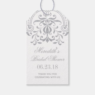Bridal Shower Favor Tags | Silver Vintage Glamour