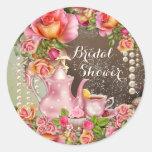 Bridal Shower Tea Party Bridal Shower Round Sticker