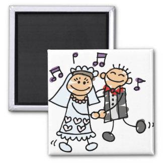 Bride and Groom Celebrate Square Magnet