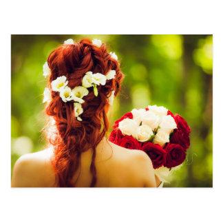 bride, lady, retro, vintage, wedding party, weddin postcard