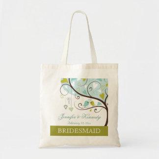 Bridesmaid green & blue love birds heart favor bag