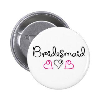 Bridesmaid Pink Black Hearts 6 Cm Round Badge