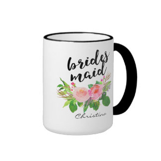 Bridesmaid Watercolor Floral Personalized Ringer Mug