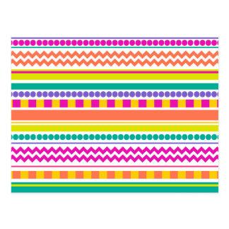 Bright, Funky & Colorful Striped Pattern Design Postcard