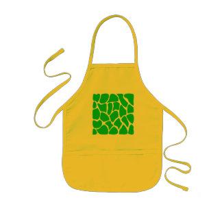 Bright Green Giraffe Print Pattern. Kids Apron