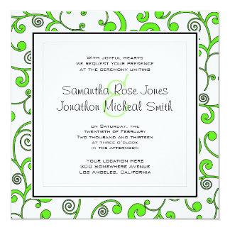Bright Green Scroll Square Wedding Invitation