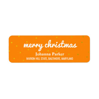 Bright Merry Christmas Typography Orange Confetti Return Address Label