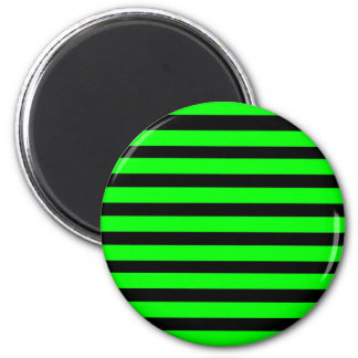 Bright Neon Lime Green and Black Stripes 6 Cm Round Magnet