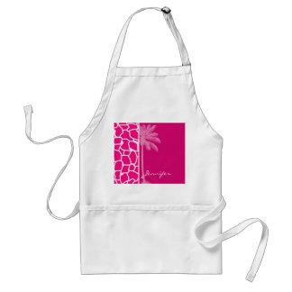 Bright Pink Giraffe Animal Print; Summer Palm Standard Apron