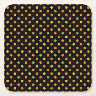 Bright Polka Dot Pattern Square Paper Coaster