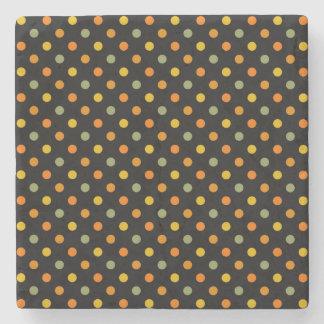Bright Polka Dot Pattern Stone Beverage Coaster