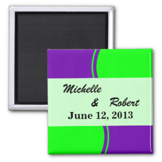 Bright purple and lime green Mod Wedding Square Magnet