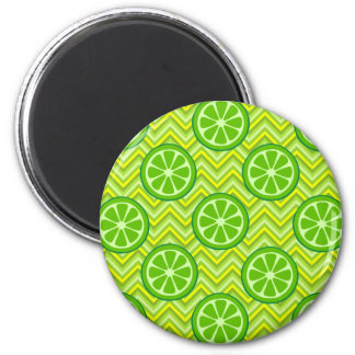Bright Summer Citrus Limes on Green Yellow Chevron 6 Cm Round Magnet