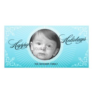 Bright Winter 3 Holiday Photo Card in Blue
