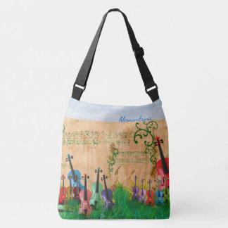 Brilliantly-Colored Violin Garden with Name Option Tote Bag