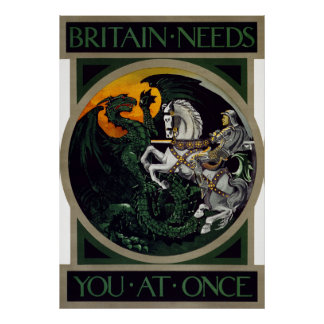 Britain Needs You At Once ~ WWI Recruitment Poster
