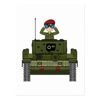 British Army Soldier in Tank Postcard