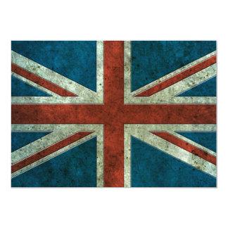 British Flag Aged Steel Effect 13 Cm X 18 Cm Invitation Card