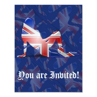 British Girl Silhouette Flag 11 Cm X 14 Cm Invitation Card
