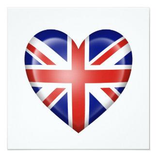 British Heart Flag on White 13 Cm X 13 Cm Square Invitation Card