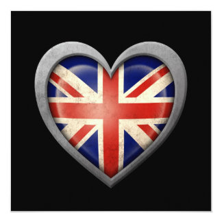 British Heart Flag with Metal Effect 13 Cm X 13 Cm Square Invitation Card