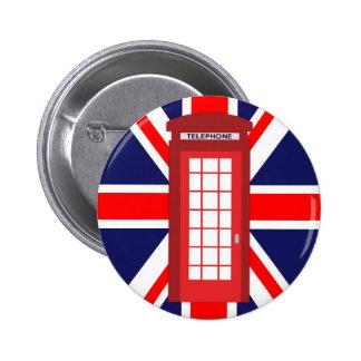 British phone box Union Jack flag 6 Cm Round Badge