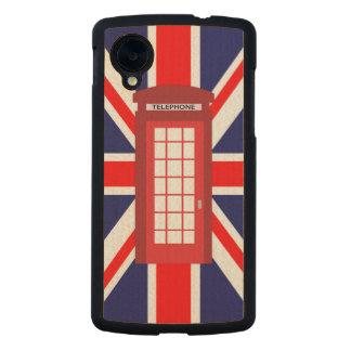 British phone box Union Jack flag Carved® Maple Nexus 5 Case